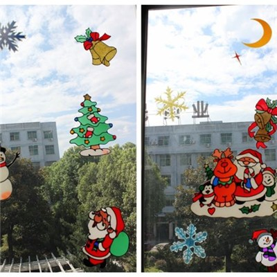 PVC Vinyl Removable Christmas Static Santa Claus Angel Snow Tree Window Sticker