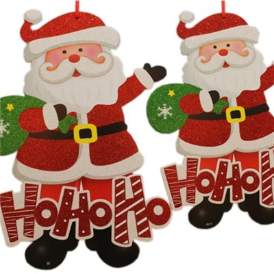 Glitter KT Foam Board Or Wood Board Christmas Santa Claus Snowman And Bell Hanging Decoration