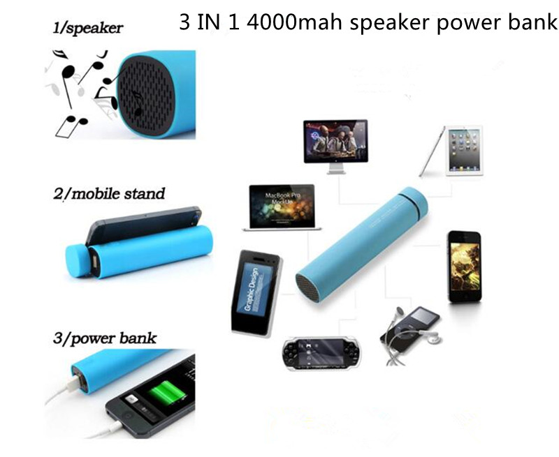 FACTORY SUPPLY REAL 3 in 1 4000mah bluetooth speaker power bank with LOGO CE ROHS FCC DROP SHIPPING