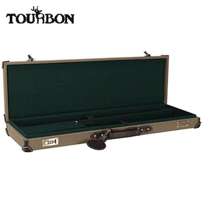 Tourbon Hunting Canvas And Leather Side By Side Shotgun Hard Shell Gun Case With Lock