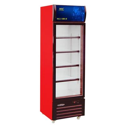 Side Open Single Glass Door Upright Display Freezers For Drinks Or Beverage With Customized AD Lamp Boxes