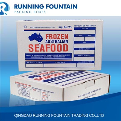 3 & 5 & 10kg General/Four Colors Printing Shrimp And Prawn Cartons In Corrugated/750g/850g/1050g USA Kraft Paper Waterproof Waxed/ Oiled/PE Coated For Farm/Board/Supermarket