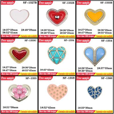 UV Electroplate Shoes Plastic Clips Flats Part Accessories Heart Shaped Shoes Decorative Buckle With Pearl For Sandals