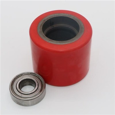 Cast Iron Red PU Roller Wheel For Pallet Truck