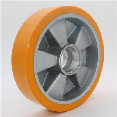 Aluminum Core Yellow PU Pallet Truck Wheel 160*50mm