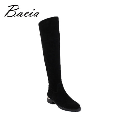 Women Black Over Knee Boots Sheep Suede Leather Boots