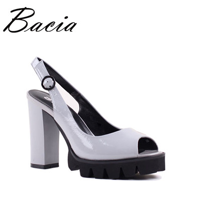 Ladies High heel Cow Leather Sandals Fashion platform shoes