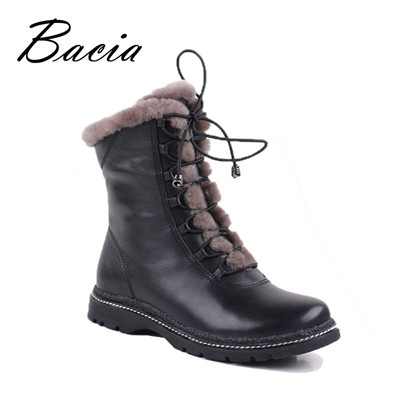 Winter Mid-Calf Warm Wool Fur Boots Warm Long plush Shoes
