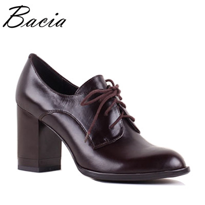 Women Luxury genuine leather Pumps Thick High heels Office Shoes