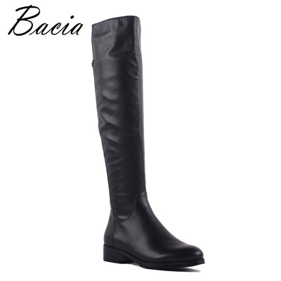 Women Genuine Leather High boots Warm Wool Fur & Short Plush Shoes