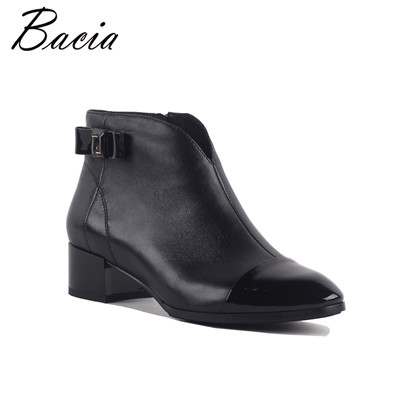 Sheepskin Shoes Women Leather Pointed toe Ankle boots