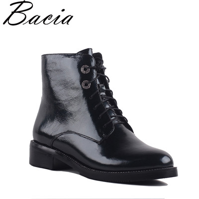 Women Boots Ankle Boots Lace up Woman Casual Leather Shoes