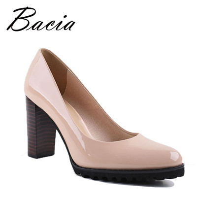 Square Heel pumps Genuine Leather Shoes For Women Luxury Quality