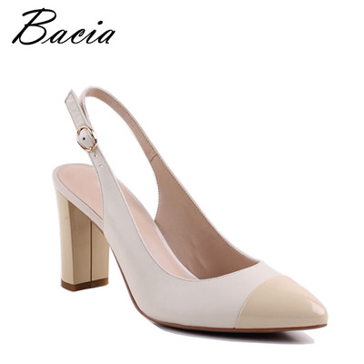 SheepSkin Beige Sandals Buckle Strap Women High heel Pumps