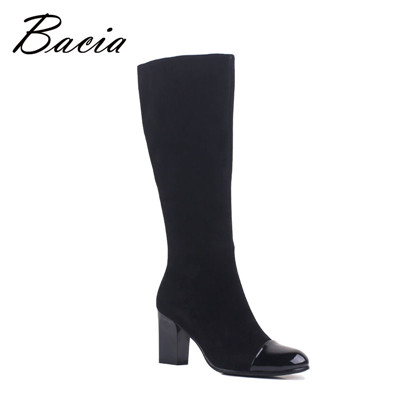 Women autumn Footwear Knee High Shoes Sheep Suede Boots