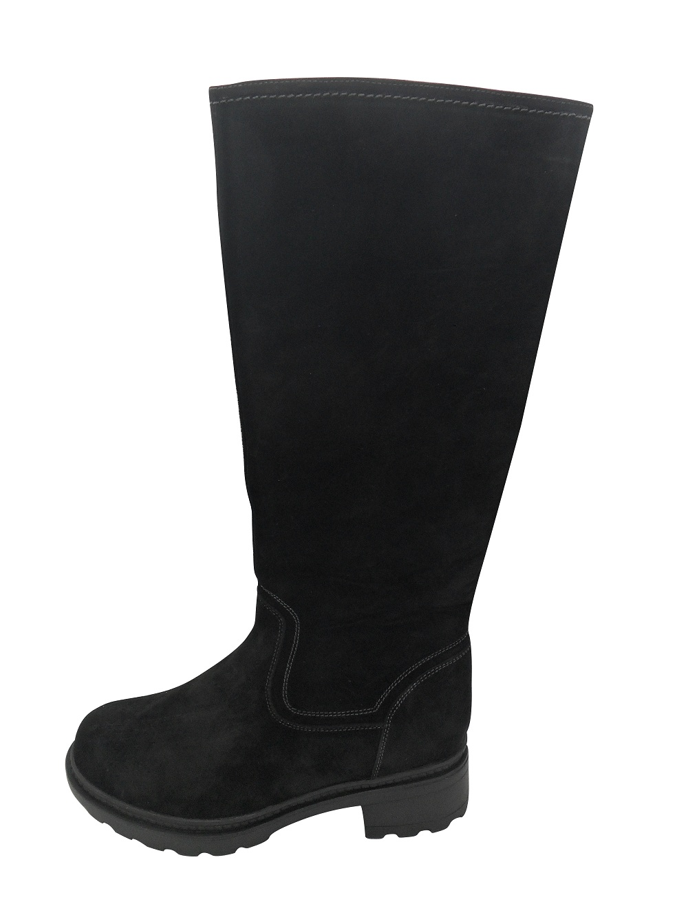 black long leather boots with zipper(FRANKY BLACK,BRAND:CARE)