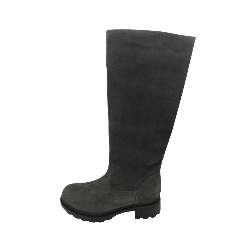 grey long leather boots with zipper(FRANKY GREY,BRAND:CARE)