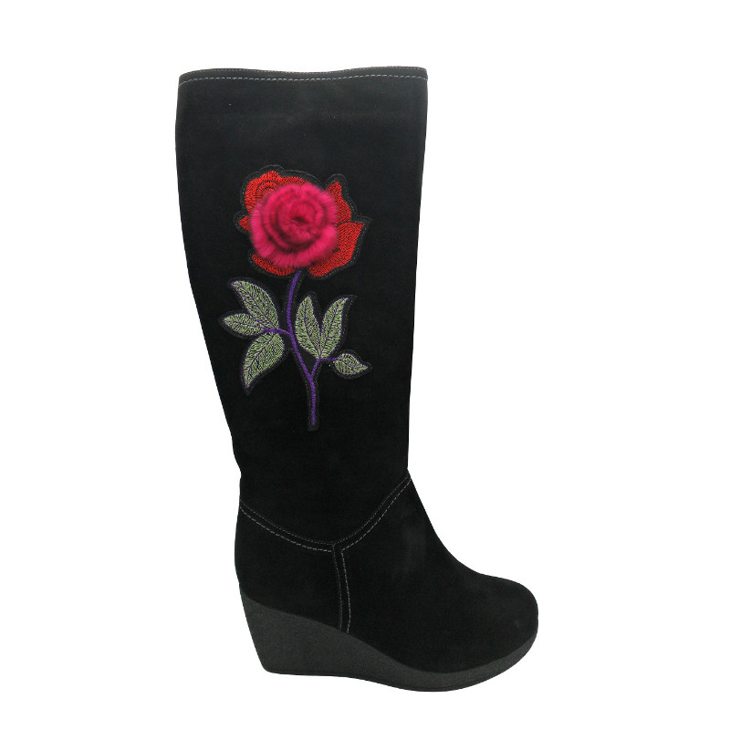 Top boots with flower ornament(GERTRUDE,BRAND:CARE)