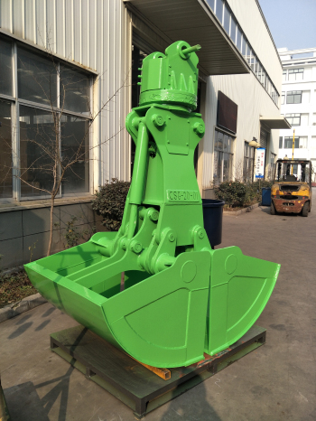 excavator rotating soil sand clamshell bucket
