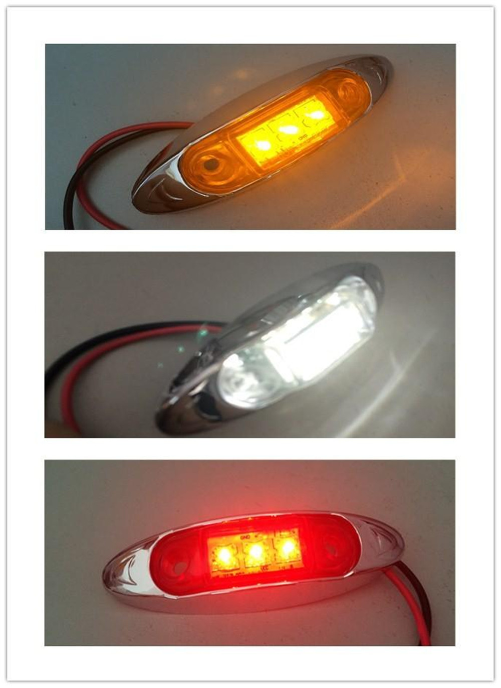 Waterproof 3LED DC12V 24V Trailer Truck Caravan AMBER LED Side Marker Light Lamp Car Side Marker Indicators Lights