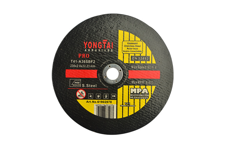 9 Inches, 230x2.0x22.23mm, T41 Flat Center  Cut-off  Wheels for Stainless Steel, Black, EN12413