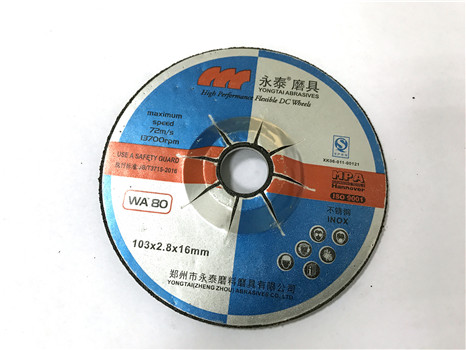 4 Inches, 103x2.8x16mm, T27 Stable and High Efficiency Depressed Center Flexible Grinding Wheels for Stainless Steel, Black Color, EN12413