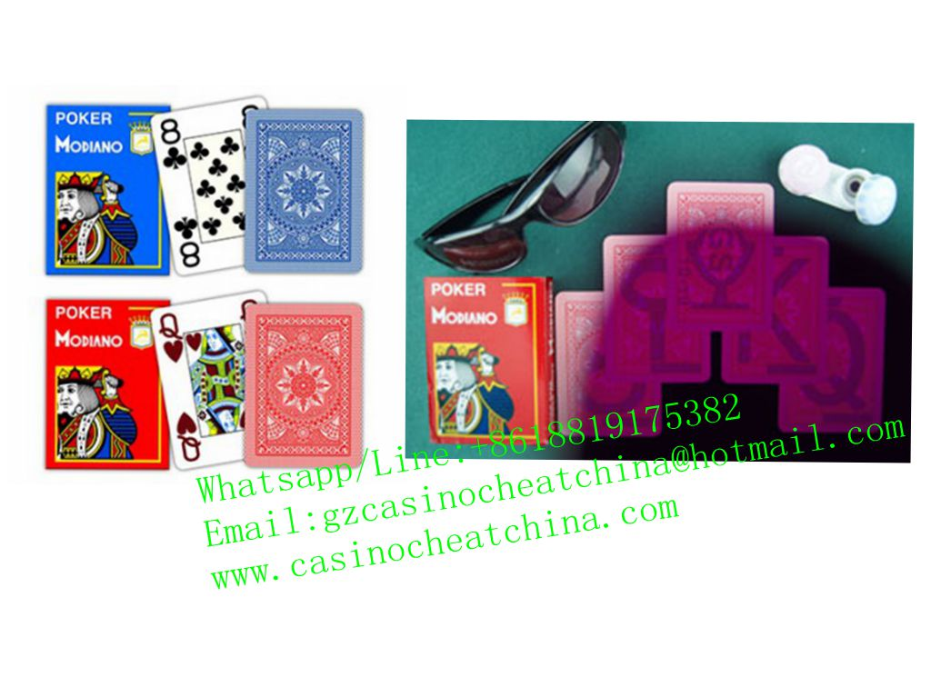 Red poker Modiano plastic luminous marked cards for poker cheating device/omaha texas cheat/invisible ink/contact lenses
