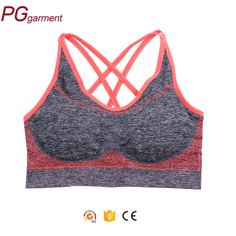 Fashion women plain yoga fitness sport bra hot sexy seamless removable pad bra for sport