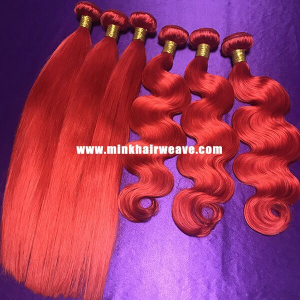 10A Grade Mink Brazilian Hair Extensions Red Hair Bundle