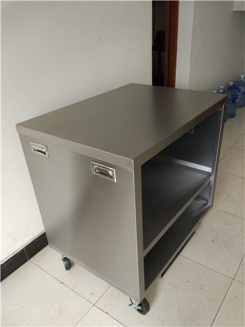 Customer-designed Stainless Steel Cart with hidden handles, for the kitchen using