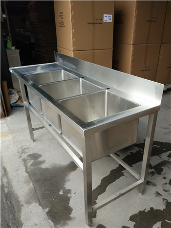 Stainless Steel Customer Designed table with 3compartments& backsplash, with SQ tube legs