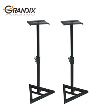 2 Pcs Speaker Stands home audio Adjustable Monitor Triangle Pair Steel Stands