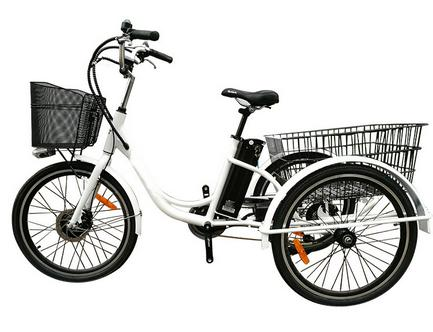 24inch adult 48v350w aluminum frame basket electric tricycle