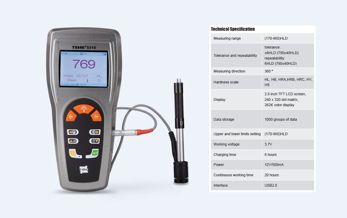 Advanced Portable Leeb Hardness Tester TIME®5310 for  Metal Hardness Testing