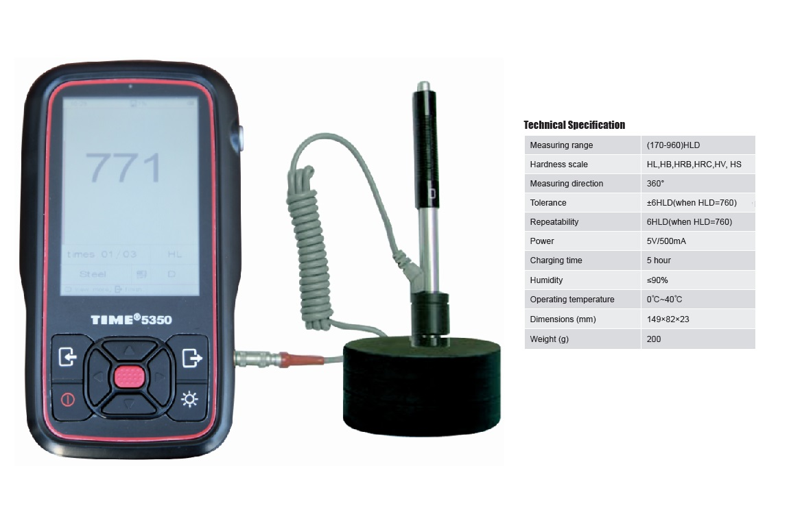 3.5 Inch Handheld Hardness Tester TIME®5350 with 7 optional Impact Devices