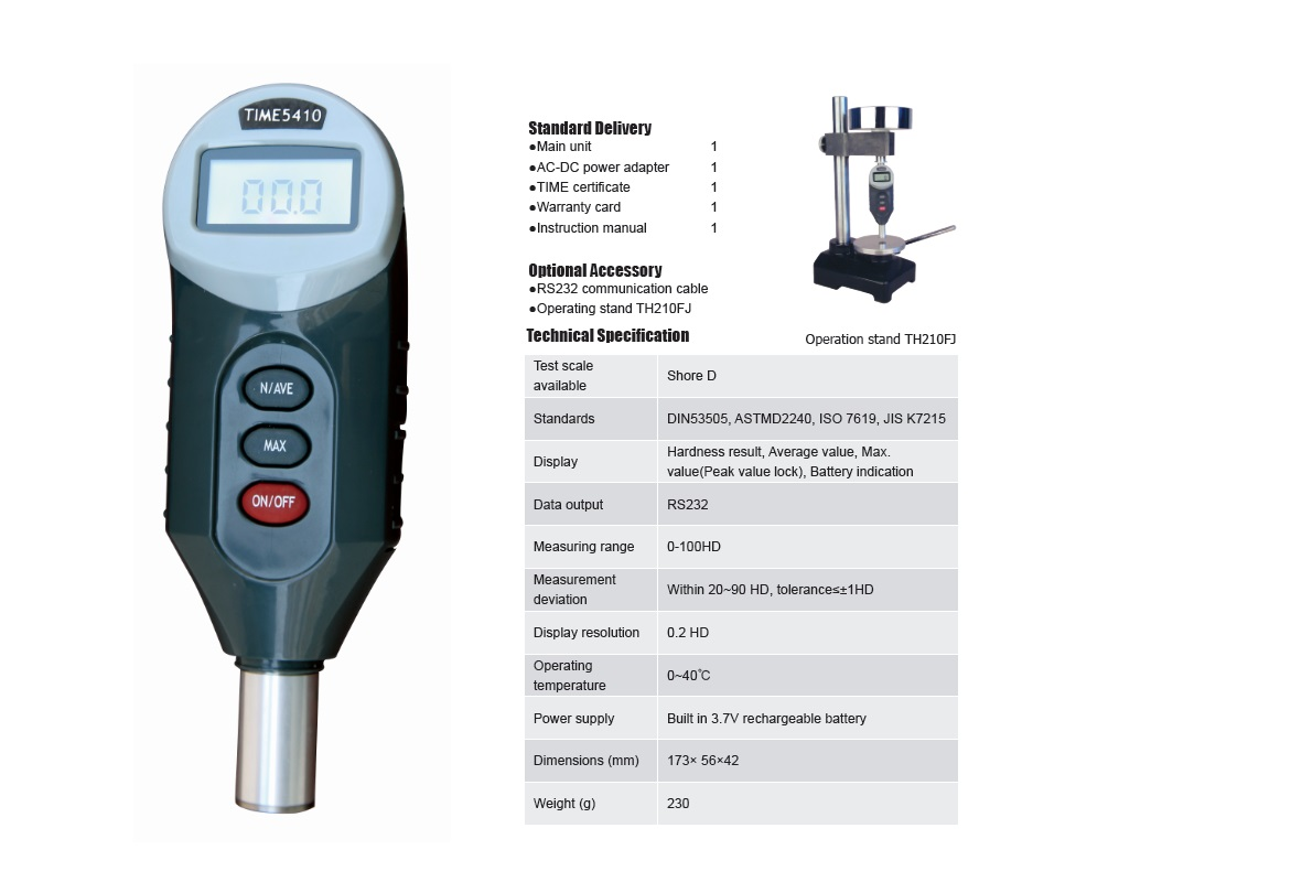 Shore D Hardness Tester TIME®5410 for Hard Rubber Plastic Testing
