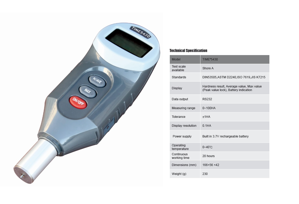 Newly Designed Digital Durometer TIME®5430 for Shore A Hardness Testing