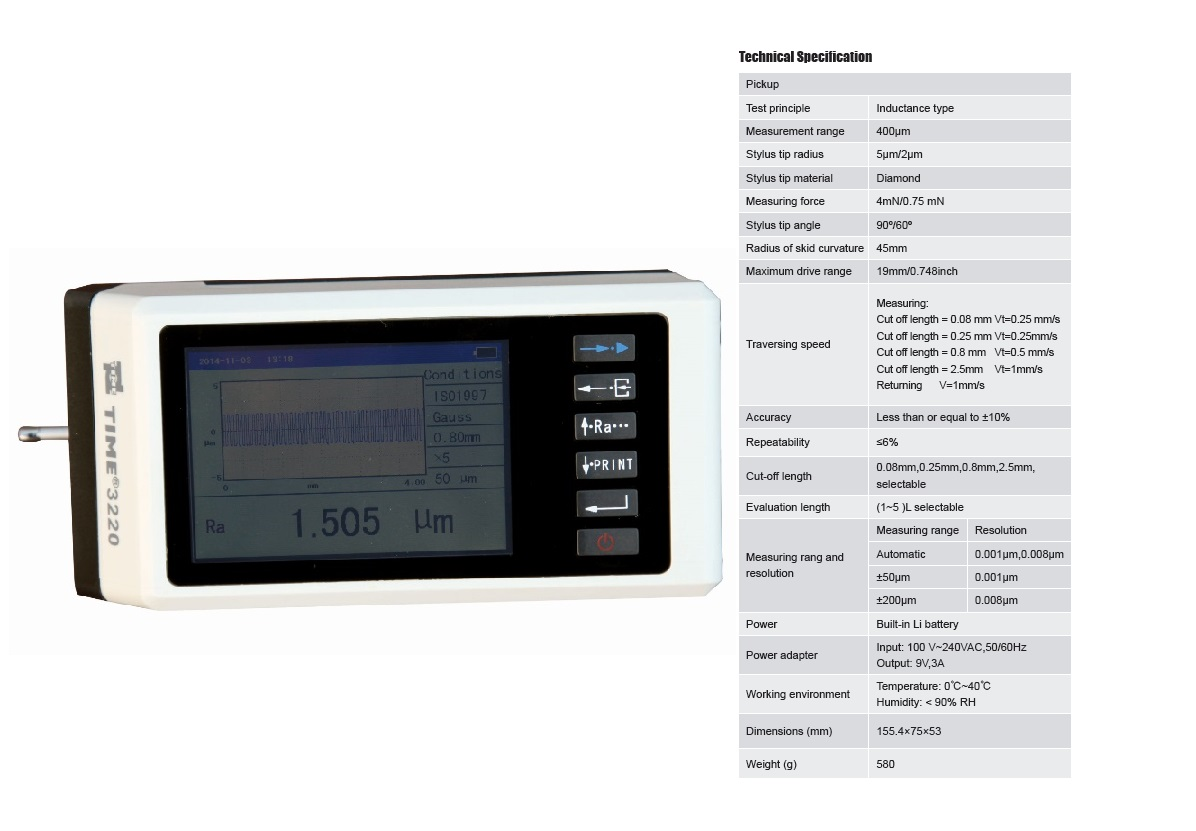 High Accuracy Touch Screen Surface Roughness Testing Equipment TIME®3220