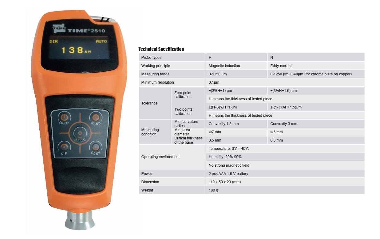 F/N Type Coating Thickness Meter TIME®2510 from Reliable Manufacturer