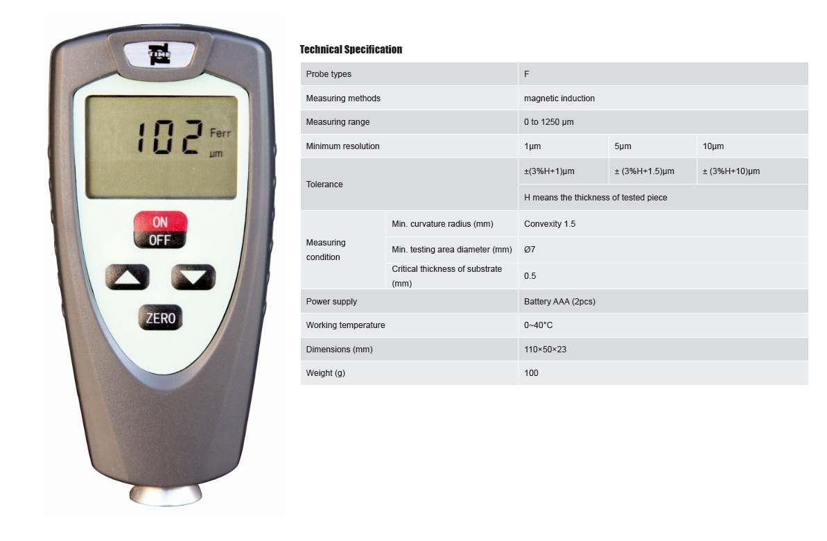 Economical Handheld F Type Coating Thickness Testing Equipment TIME®2511