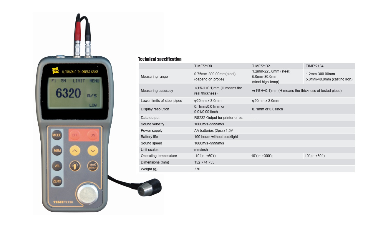 Anti-high-temperature Ultrasonic Thickness tester TIME®2130/2132/2134