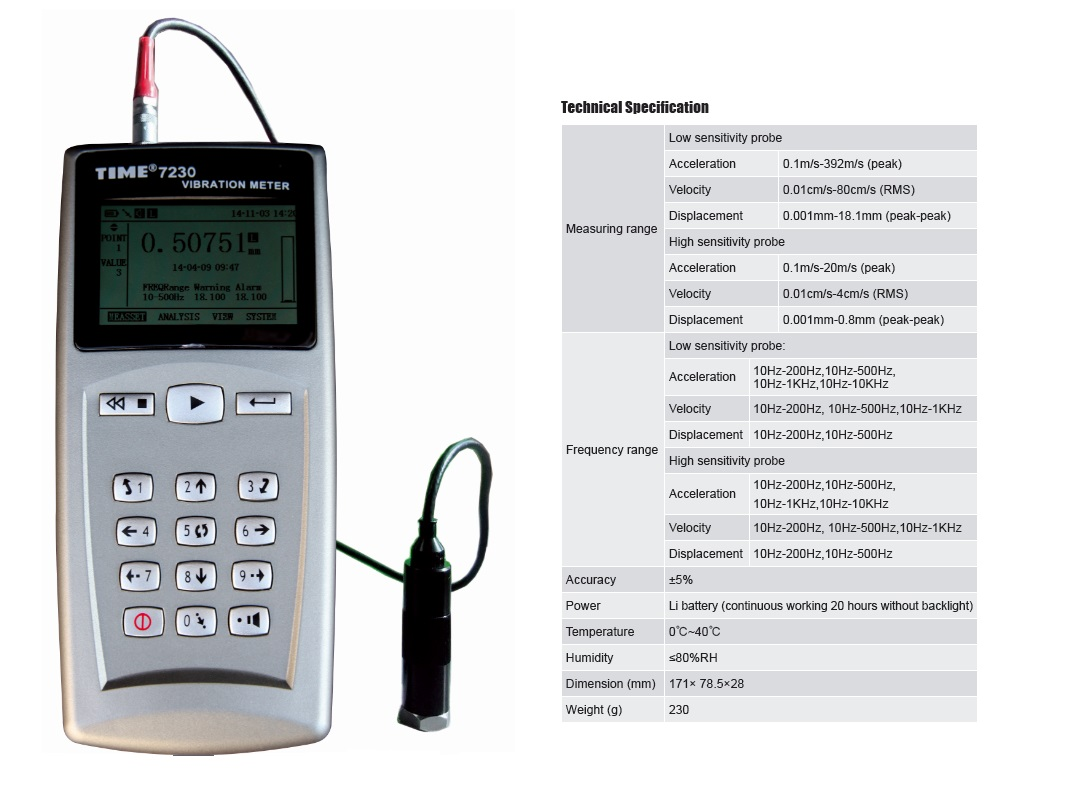 High Quality Vibration Meter TIME®7230 with Spectrogram