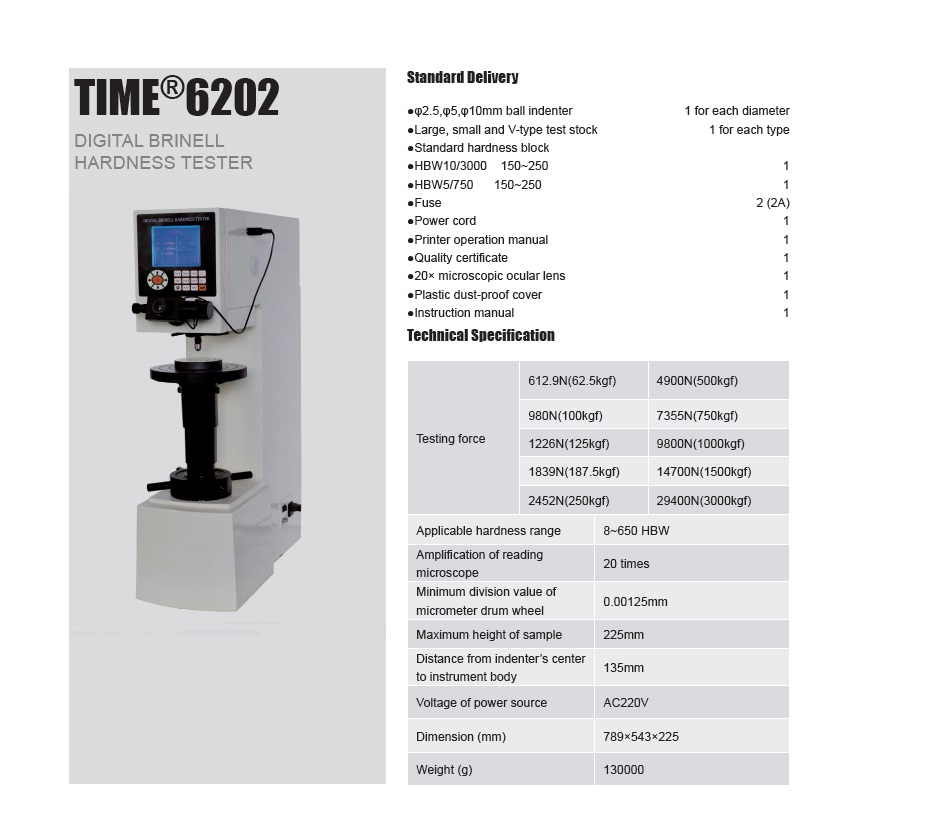High Quality Digital Brinell Hardness Tester TIME®6202