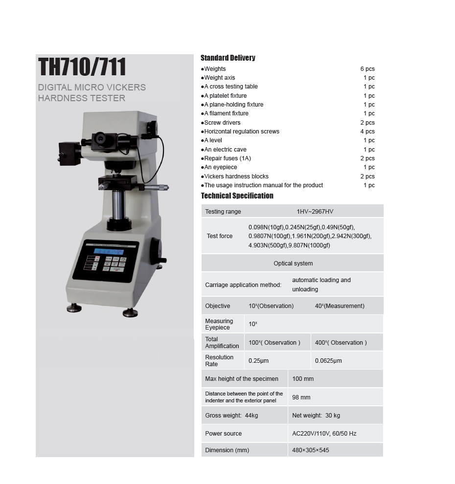 Digital Micro Vickers Hardness Tester TH710/711 from ISO Certified Manufacturer