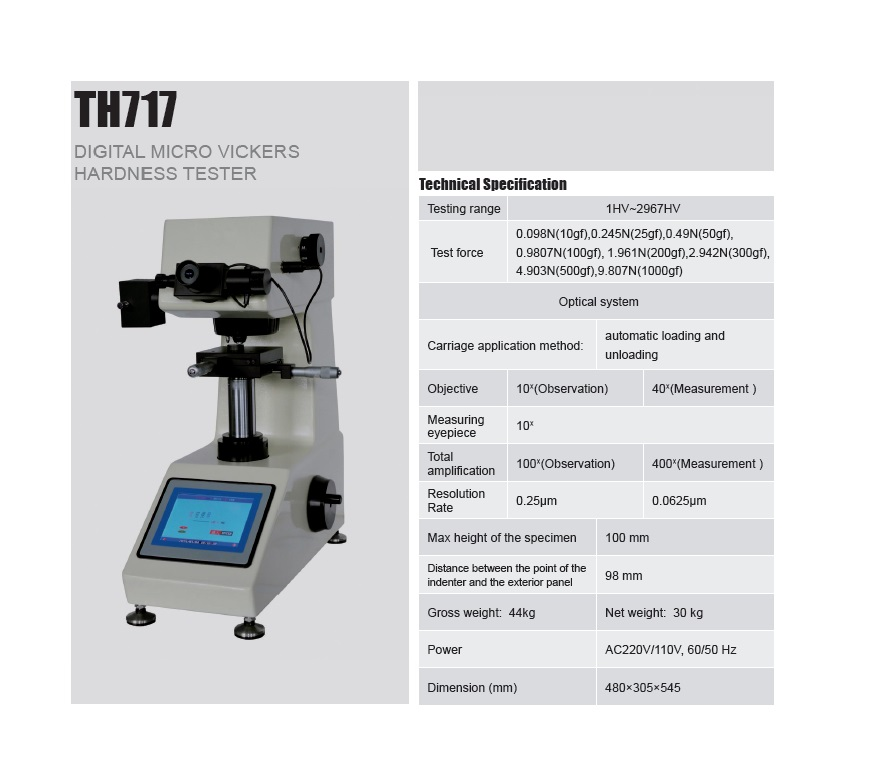 High Accuracy Micro Vickers Hardness Tester TH717 from Reliable Supplier