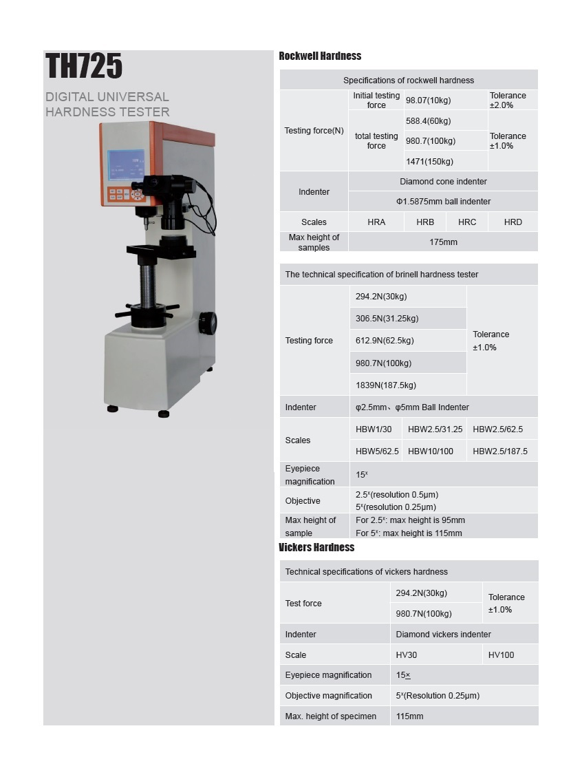 Digtal Universal Hardness Tester TH725 for Brinell, Rockwell, Vickers Testing