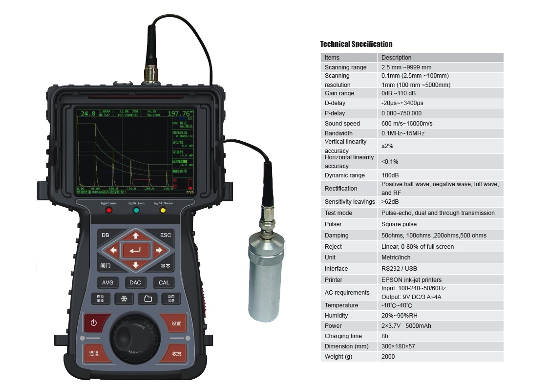 Portable Ultrasonic Flaw Detector TUD500 from ISO Certified Manufacturer