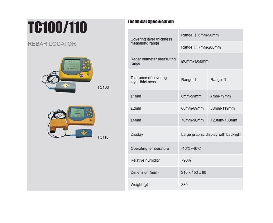 Rebar Locator TC100/110 for Concrete Covering Thickness Testing