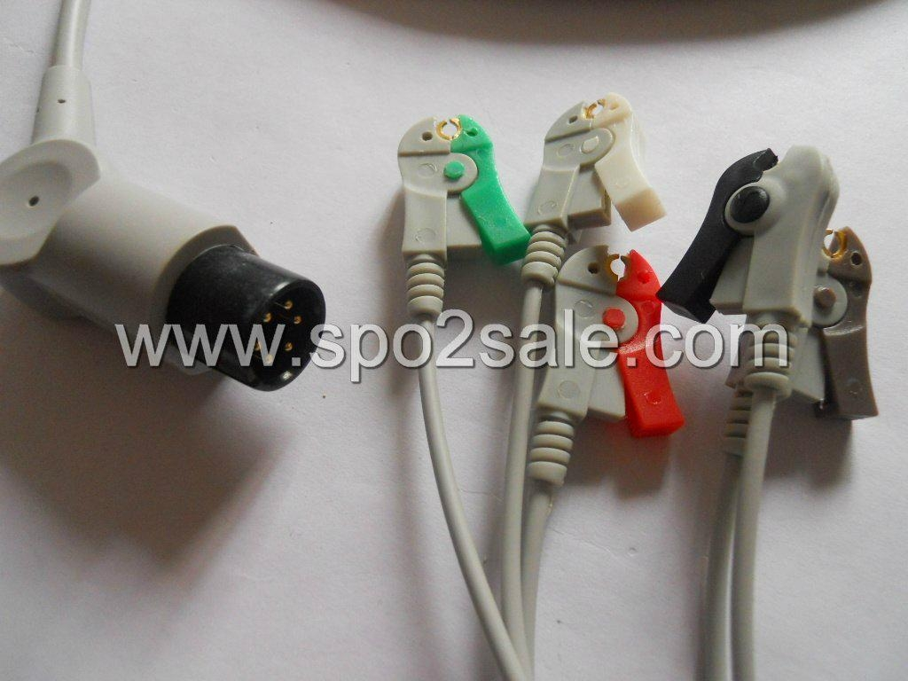 One piece 5-lead ECG Cable with grabber leadwires