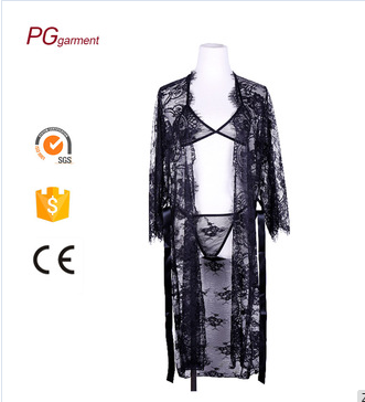 Women Sexy Lingerie bridal Robe Sheer lace girls sexy night dress photos robes with bralette G-string